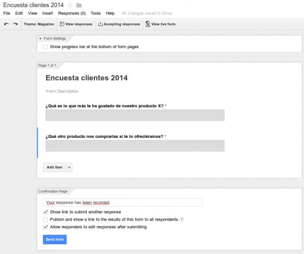 Editor de encuestas de Google Drive
