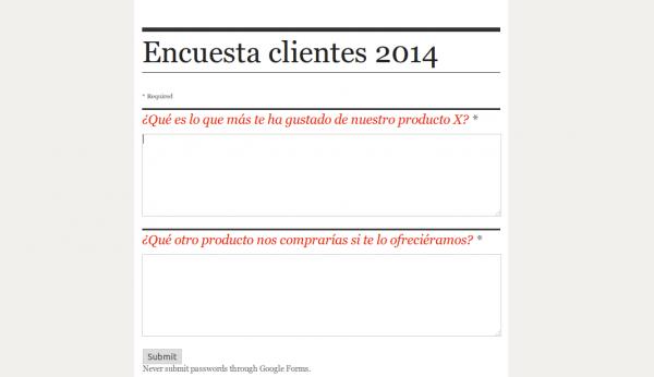 Encuesta a clientes 2014