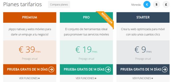 AppsBuilder - 3 planes con cambio de divisa y orden inverso